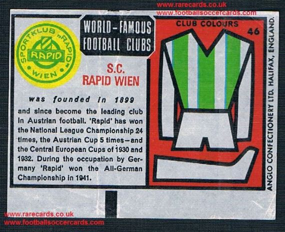 1970 Anglo Gum waxy paper insert World Famous Football Clubs Rapid Wien